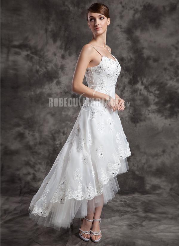 Forme princesse col V traîne asymétrique organza tulle robe de mariée dentelle emperler [#ROBE207451] - robedumariage.com