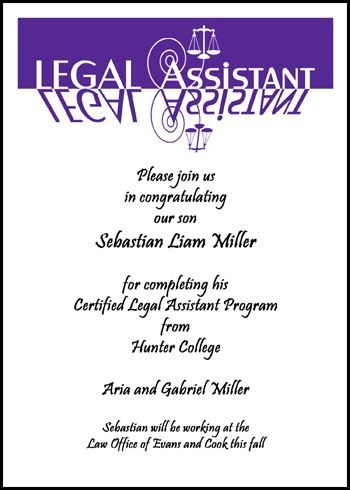 best and cheapest prices on custom scales of justice legal assistant graduation announcements and paralegal assistant graduation invitations with scales of justice for paraprofessional school graduating commencement ceremony at InvitationsByU