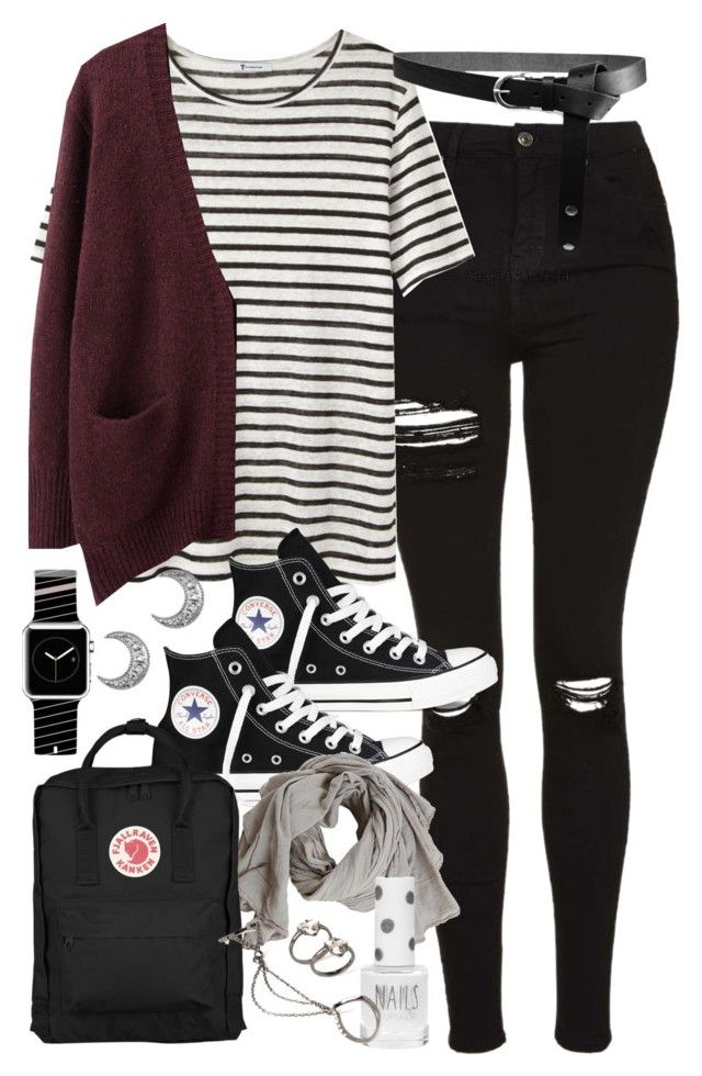 """Outfit for university with a Kanken bag"" by ferned ❤ liked on Polyvore featuring Topshop, T By Alexander Wang, Acne Studios, Converse, Fjällräven, ASOS, Casetify and Forever 21"