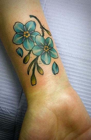 Forget Me Not Color Ink Tattoo-I really like this idea, for many reasons.....