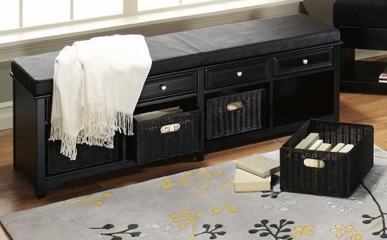 Oxford 60 Quot W Storage Bench With Four Baskets Ivory Fabric