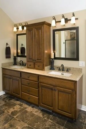 Large Bathroom Vanity With Linen Tower Offers Ample Storage And Room To Spread Out