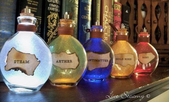 """Steampunk """"Once Upon a Fantasy"""" light up bottles- SET"""