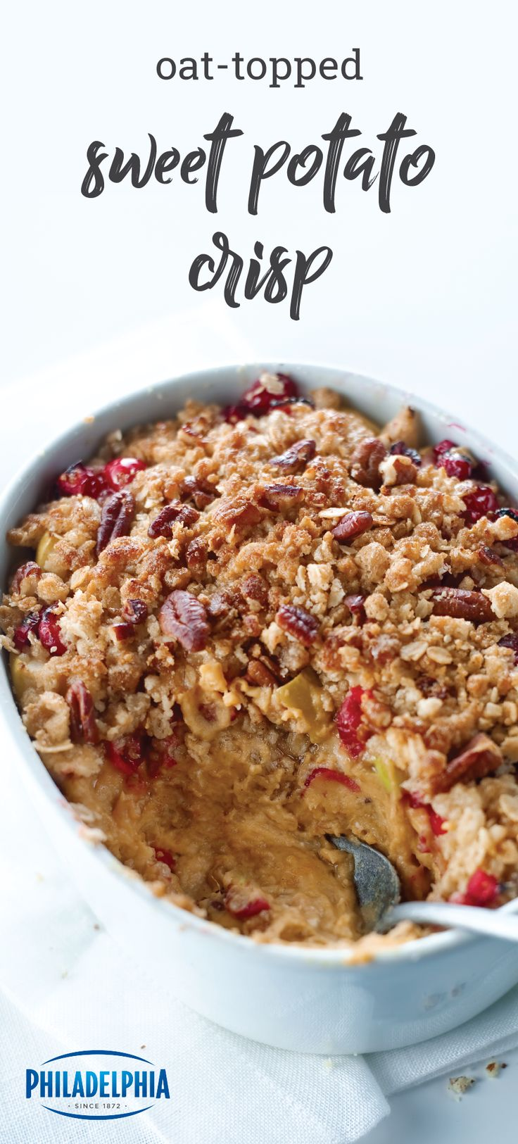 Oat-Topped Sweet Potato Crisp – What turkey? Made with brown sugar, cinnamon, cranberries, and apples, this delicious dessert or sweet side is quite the scene-stealer at the holiday table. We think you may just complete your Thanksgiving menu with this recipe!