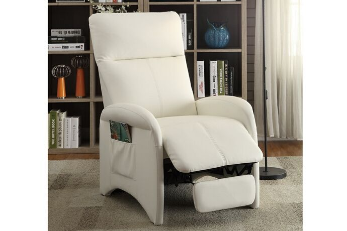 Poundex F6625 Louisa White Faux Leather Slim Style Recliner Chair Recliner Chair Dining Room Chair Cushions Leather Dining Room Chairs