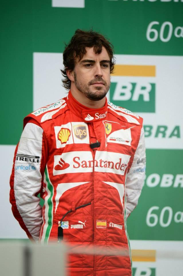 Fernando Alonso on the podium - 2013 Brazilian GP