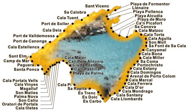 Die Strand Karte für Mallorca