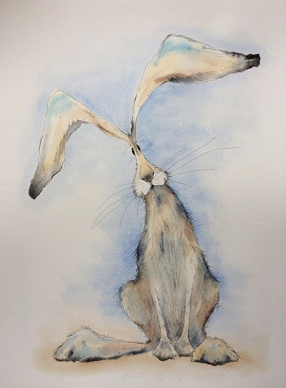 Large Hare Original Watercolour Hare Painting Sitting Hare Tierkunst Tiere Malen Hase Zeichnen