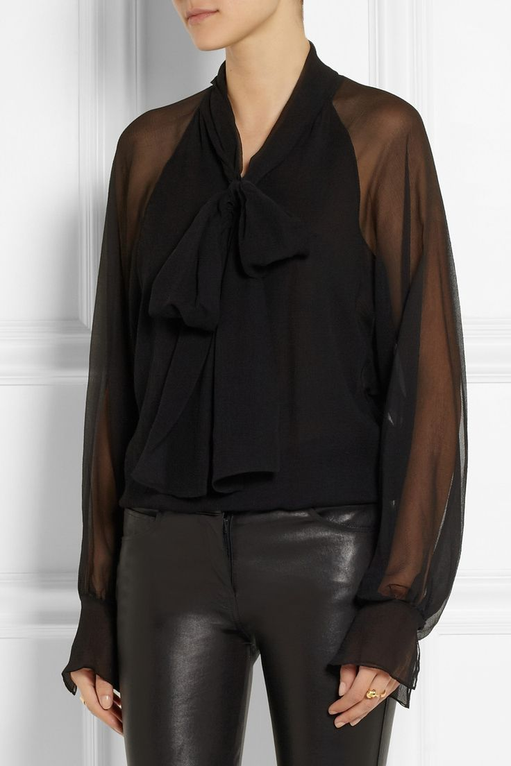 Style Inspiration: Black, sheer blouse with bow and ruffles worn with leather pants. (Chloé Pussy-Bow Silk-Georgette Blouse)