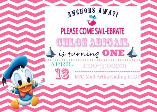 Invitation card: baby donald duck the sailor theme