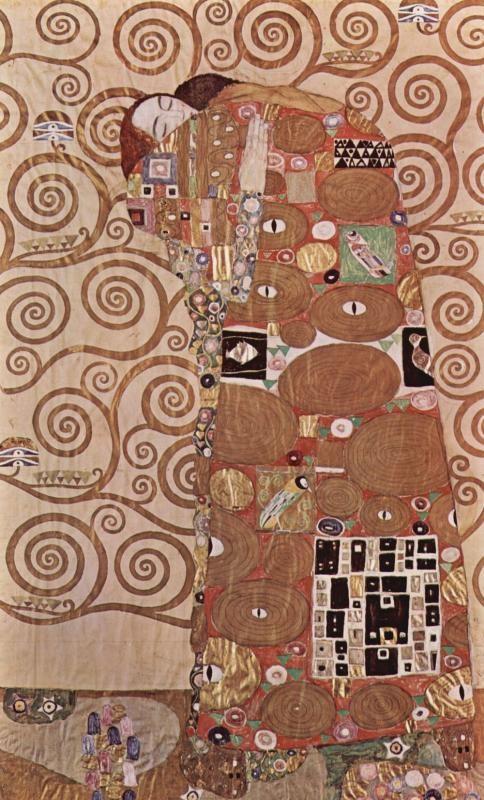 Художник - Густав Климт, картина «Набросок для фриза в Пале Стокле в Брюселе: Объятие»: Модерн, Ню