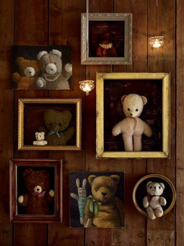 I can see this in our bedroom... make little shadowboxes for your bear collection, with ladders or ropes, so that they can climb in and out as they wish and put all the little bear knick-knacks and art and such around them, like this... What do you think?