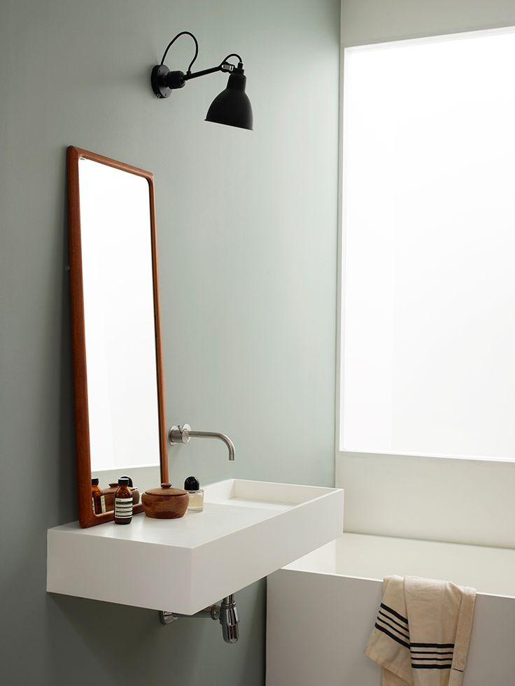 Minimalist green bathroom