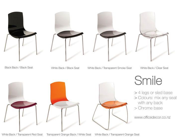 Smile Chair Range >Select a back colour >Select a seat colour > Select 4 legs or a sled base SMILE!