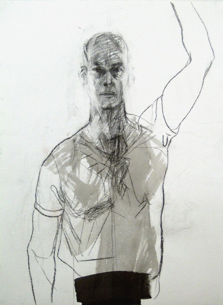 Downstroke, Kol och tusch, 76x56cm