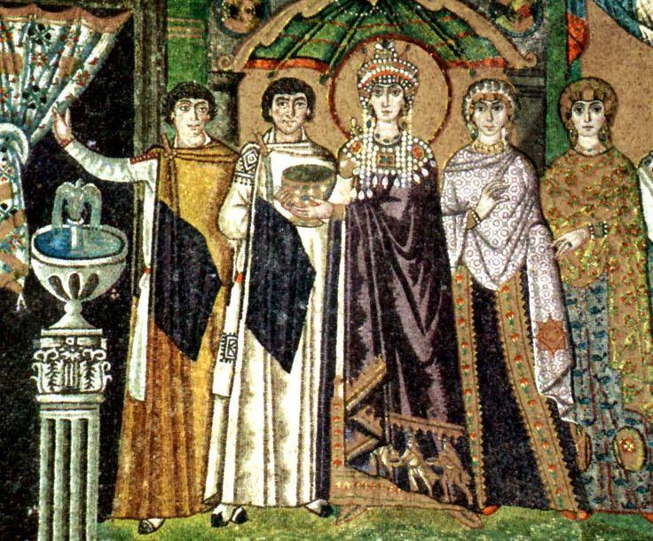 Byzantine Costume - Theadora in her purple silk palduamentum among her court- wearing paludamentums, mantles, tablions, fibulae, Samite