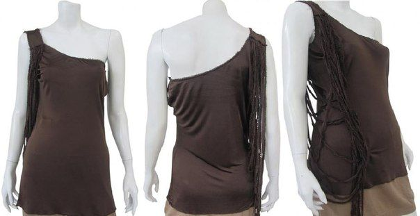 One-shoulder undershirt with laces applied on the shoulder front to back on sale.  #Women #Clothing #Fashion