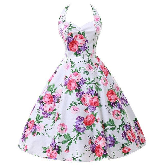 Grace Karin Cotton Short Retro Floral Print 50s Vintage Swing Pin Up Rockabilly Dress Summer Casual Dresses Plus Size Clothing