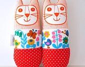 Original Scandinavian 70s fabric handmade cat toy plush softie by Jane Foster