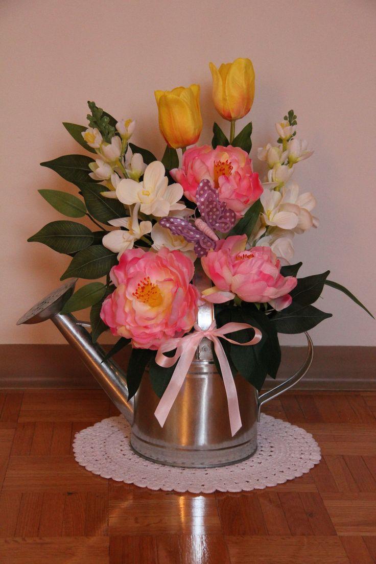 DIY Spring Floral Arrangement. Watering can floral arrangement. https://joannagreen.ca/2018/02/17/diy-floral-challenge-spring-2018/