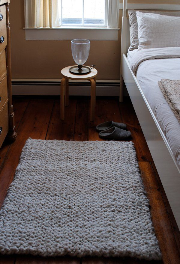 Our Big Stitch Knit Rug is scrumptious like a heavenly soft cloud and  beautiful like a white-pebbled Sardinian beach. Sinking your feet into  its cozy stitches is such a wonderful feeling you'll want it first thing  in the morning and last thing at night!  With its farm-fresh natural fibers and jumbo sized stitches, the Big  Stitch Knit Rug embraces homey rusticity with modern panache. A super  easy slip stitch pattern gives it its lofty squishiness and fantastic  nubbly texture.  Like its…