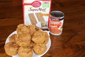 Pumpkin muffins – TWO ingredients! Yes, so easy and so tasty! My kids love them.