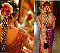 South Indian bride. Temple jewelry. Jhumkis.Red and purple silk kanchipuram sari.Braid with fresh jasmine flowers. Tamil bride. Telugu bride. Kannada bride. Hindu bride.Malayalee bride.Kerala bride.South Indian wedding.