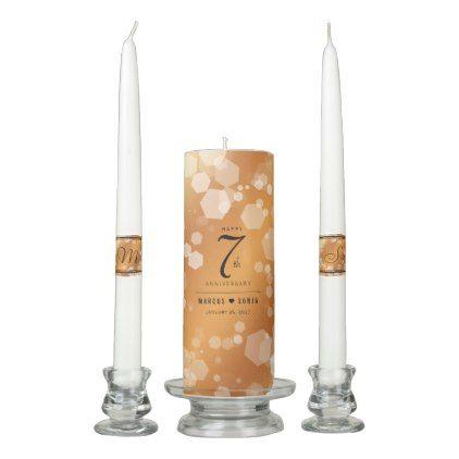 Elegant 7th Copper Wedding Anniversary Unity Candle Set - elegant wedding gifts diy accessories ideas