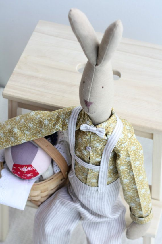 Stuffed stylish bunny doll Handmade toy nursery cotton fabric spring by dearblueberryshop, €37.00
