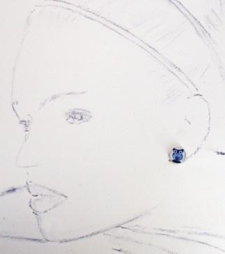 Blue Owl Stud Earrings (for Lauren)