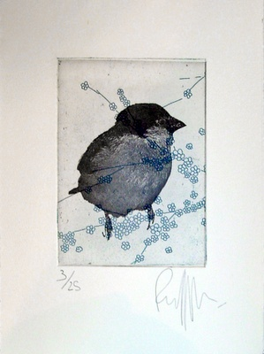 """""""Flowerbird""""  Original etching with 2 plates by Ronald Ceuppens"""