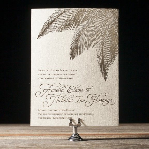 The Traditional Palm invitation suite features palm fronds & tropical flowers. The perfect invitation for a destination wedding in the tropics.