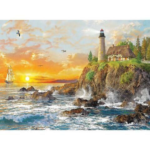Sunset by the Rocky Coast Jigsaw Puzzle, 3000 pcs - Herrschners #lighthouse