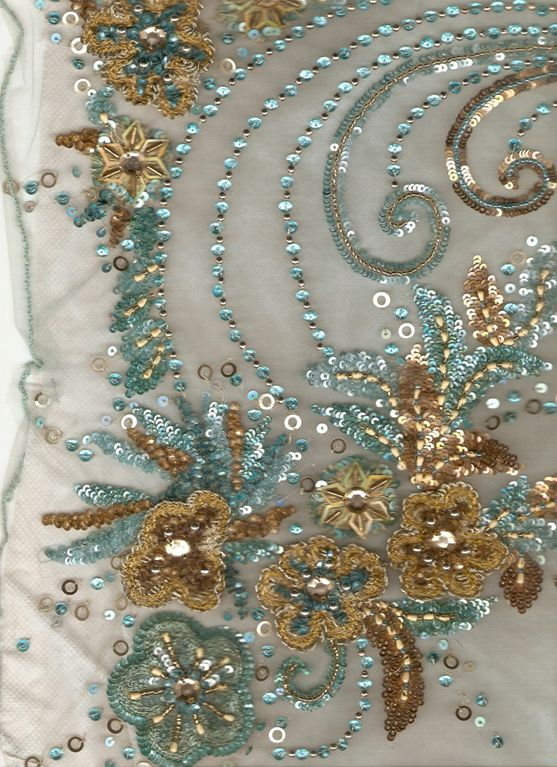 Indian bead and sequins embroidery hand