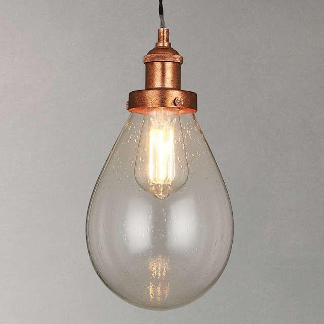 BuyJohn Lewis Radley Glass Bistro Pendant Ceiling Light, Clear/Copper Online at johnlewis.com