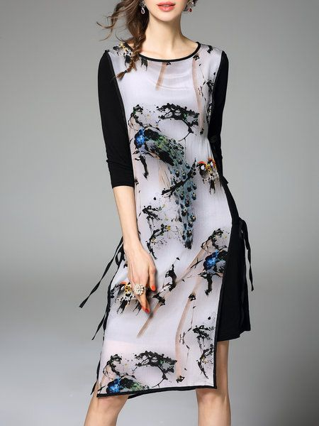 Multicolor Half Sleeve Floral Midi Dress