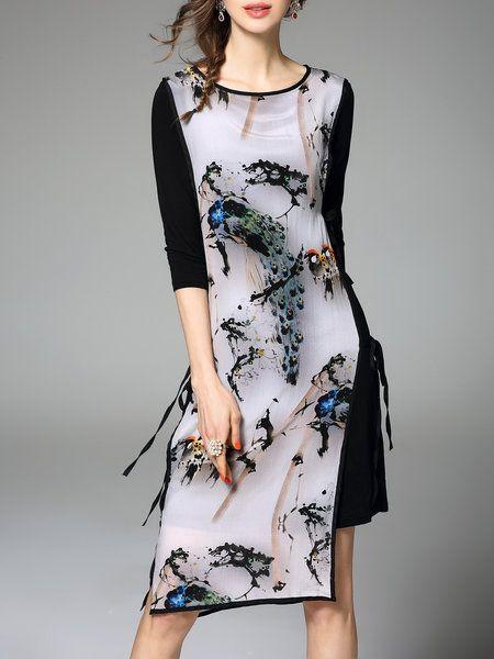 Multicolor Half Sleeve Floral Midi Dress