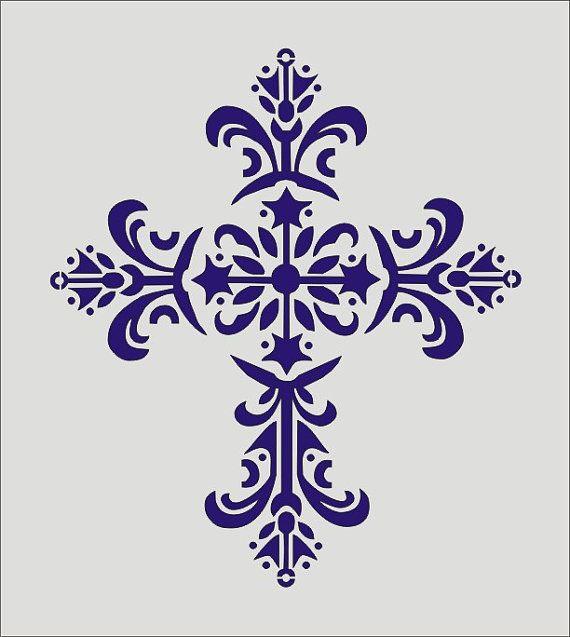 Stencil, Decorative Cross Flourish Design, image is approx. 7 x 8 inches