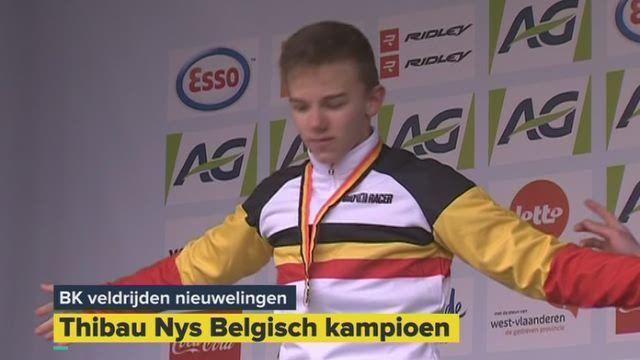 Thibau Nys is Belgisch kampioen veldrijden bij de nieuwelingen