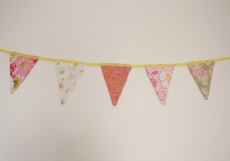 vintage retro floral 60s  mini bunting / pennants / garland 5 flags home, wedding, party, shower decor, pink, orange, yellow. £7.00, via Etsy.