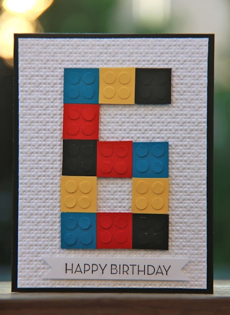 """Lego birthday card by Jennifer Brum. Squares are 3/4"""" & circle punch is 1/4"""""""