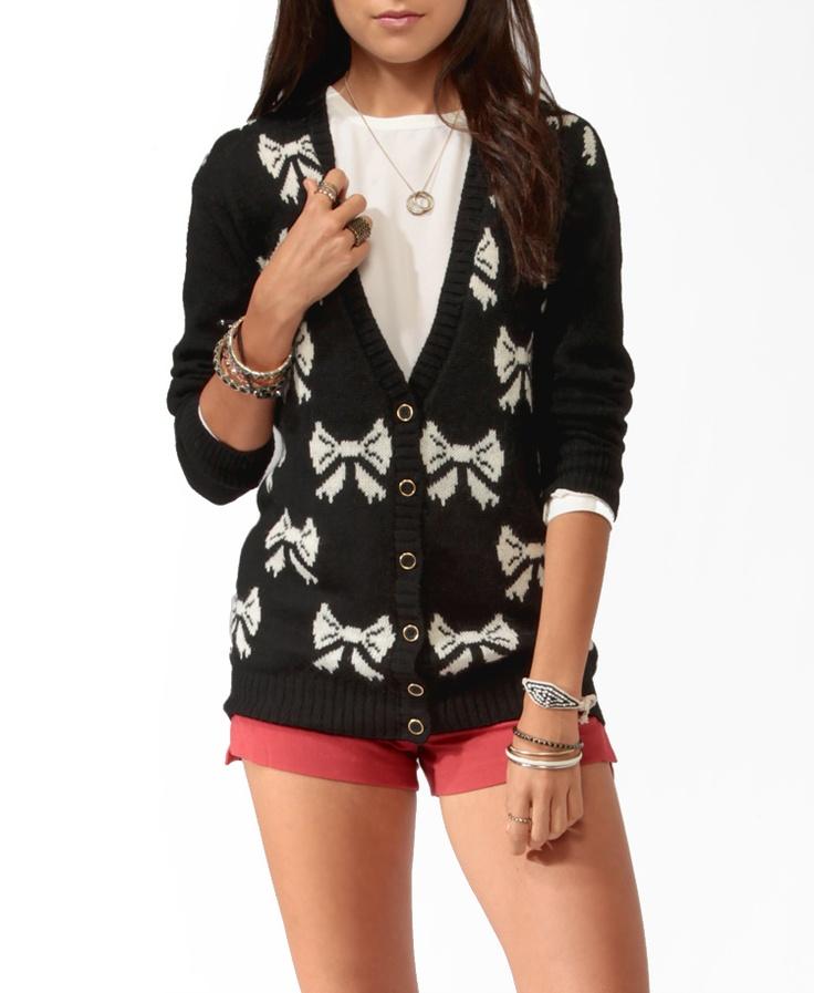 Longline Bow Print Cardigan #sweaterweather