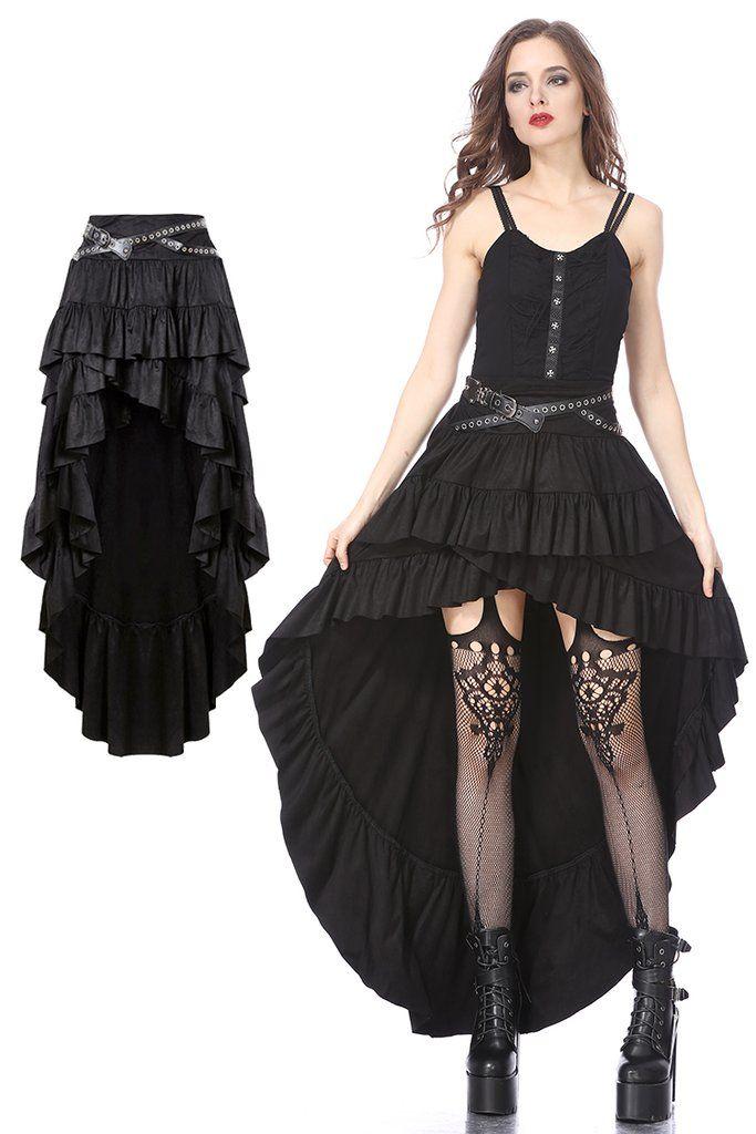 KW122 Punk rivet high-low skirt