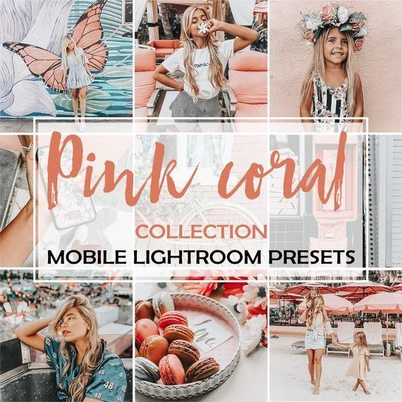3 Lightroom Presets Pink Coral Instagram Preset And Blogger Preset Rose Pink Filters For Instagr Pink Filter Lightroom Presets Lightroom