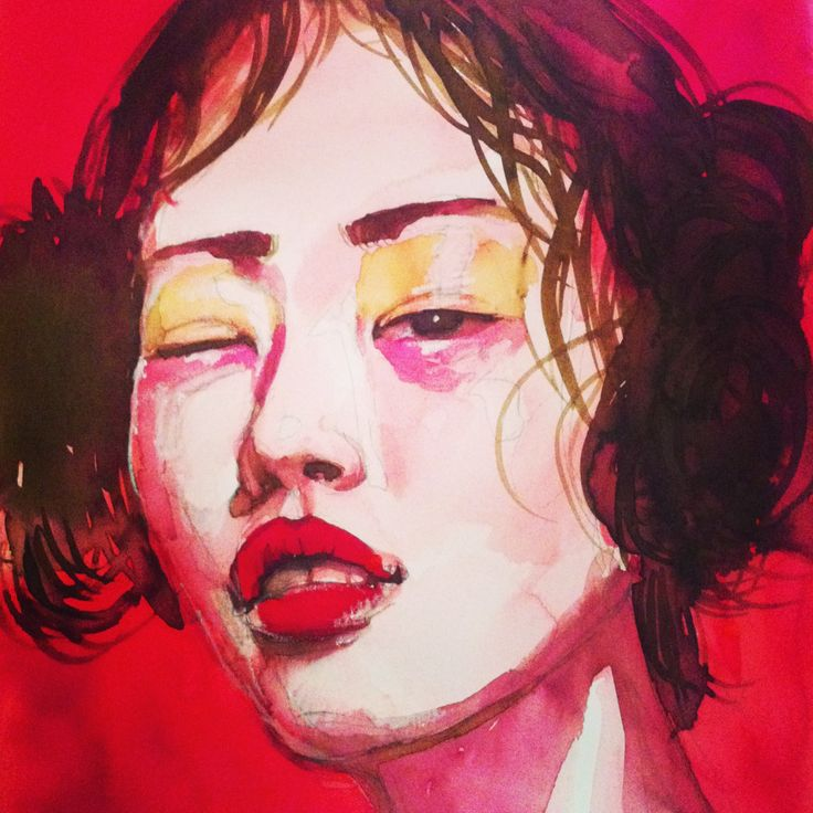 Chinese girl with wet hair and red lips ink portrait