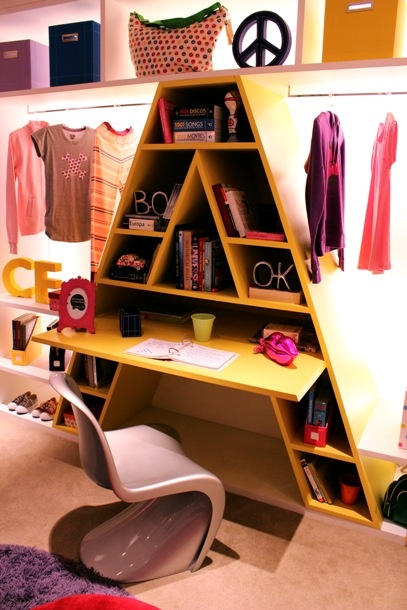 kid's bedroom = closet + giant A letter bookcase