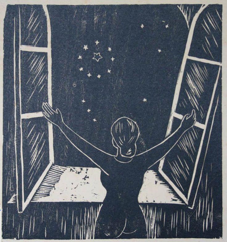 Abelardo Ávila, Mujer mirando estrellas, madera al hilo, Papel: 47.3x36 cm.   http://museocoleccionblaisten.blogspot.ru/2011/06/tecnicas-de-grabado-en-relieve.html