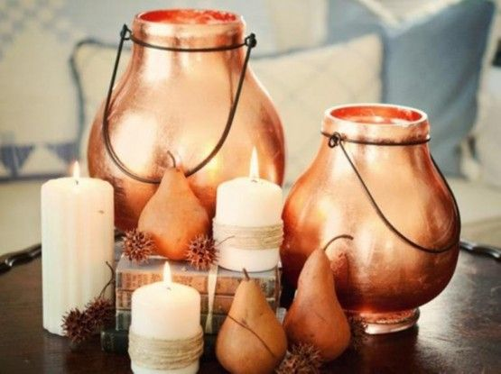 Copper accessories, such as these ornaments, are a lovely investment to make your home fashionable this winter. #homedecor #copper #accessories