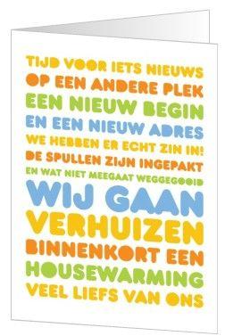 Verhuiskaart met tekst. Een nieuw adres betekent een nieuw begin én een leuke housewarming.