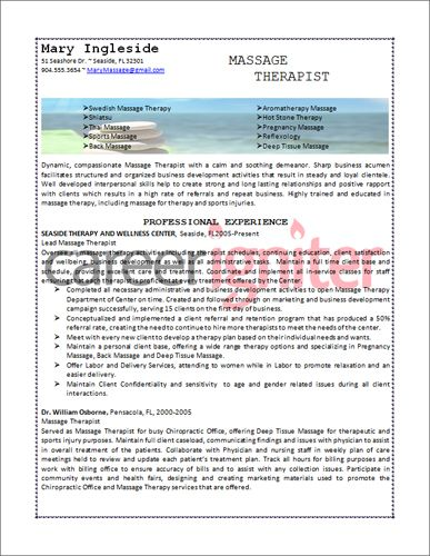 Massage Therapy Resume Samples] Massage Therapist Resume Sample